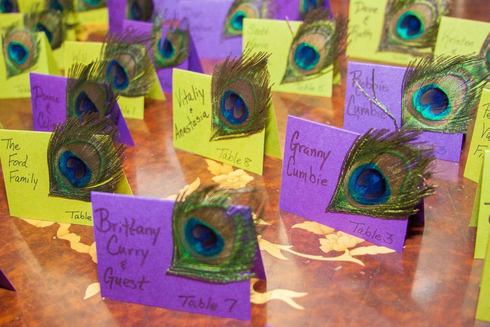 Peacock Place cards