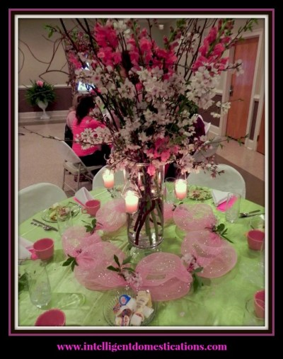 Women's Ministry Table Decor Ideas. Cherry Blossom Centerpiece