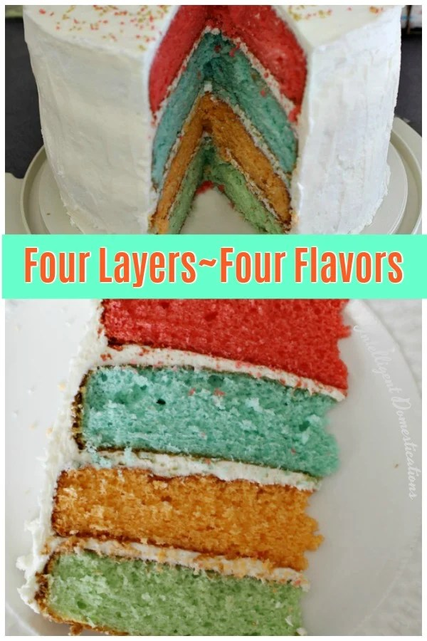 How to make a Four Flavor Cake with four layers. Each layer is a different flavor and color. Tricks with cake mix are what makes this cake fun and tasty. #cake #trickwithcakemix
