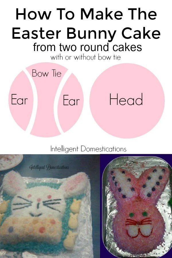 """How to make the Easter Bunny Cake from two 8"""" round cakes. Easter Bunny Cake. How to make an Easter Bunny Cake"""