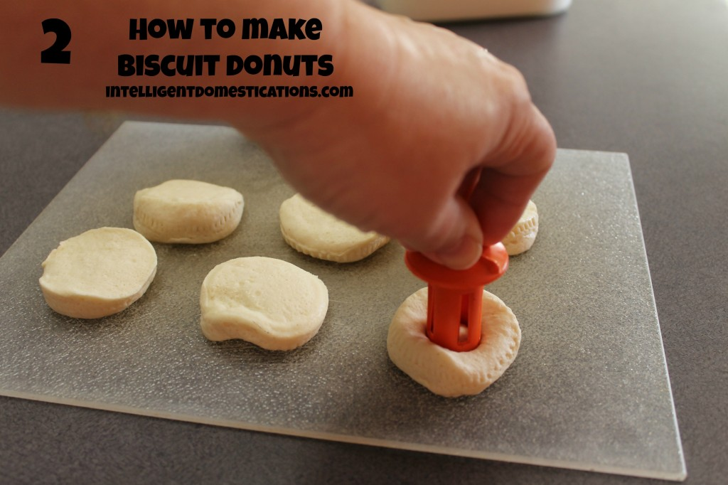 Cutting the Donut holes for Biscuit Donuts by intelligentdomestications.com