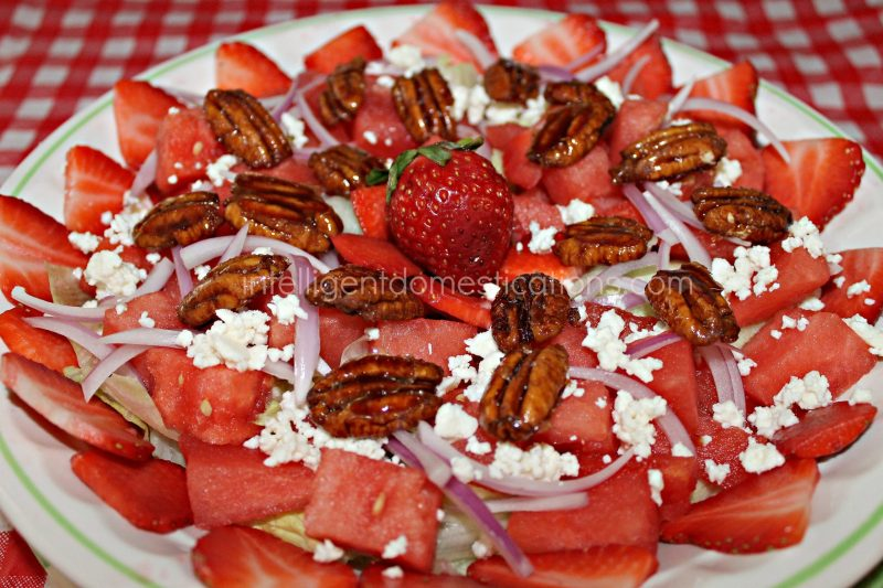 Our Sweet & Salty Strawberry Watermelon Salad recipe is perfect for your summer menu. We enjoy it for a weeknight meatless meal or even a Saturday BBQ