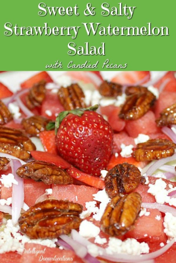 Sweet and Salty Strawberry Watermelon Salad recipe. How to make a pretty Watermelon salad for your summer party. #watermelonrecipe #watermelon #summersalad #recipe #summerfood #strawberry #salad #saladrecipe #farmtotable