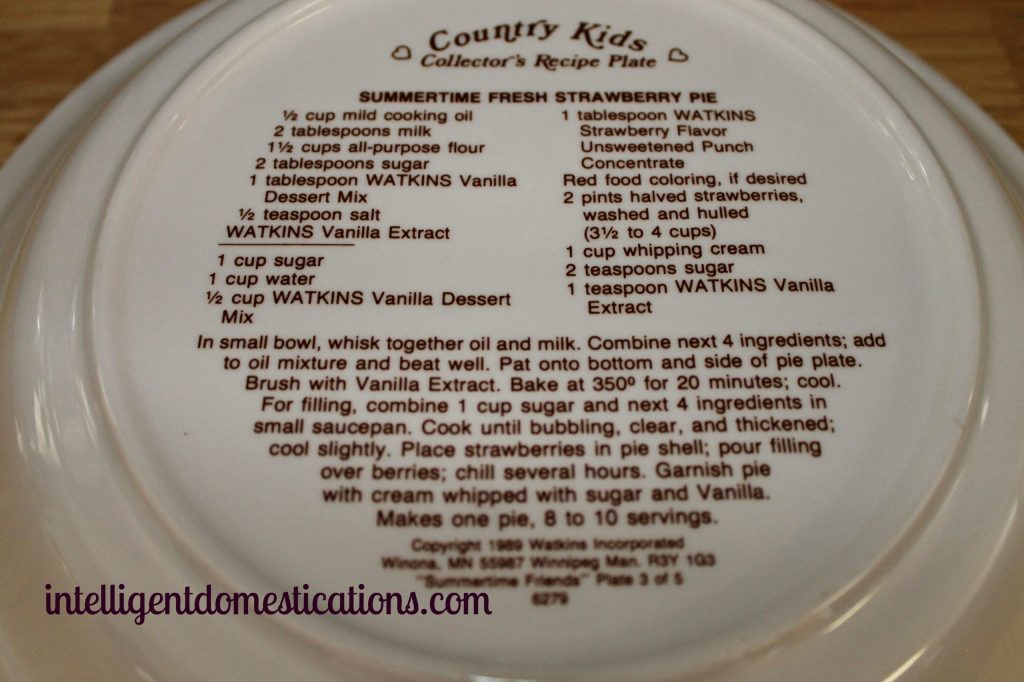 Watkins Pie dish with Strawberry Pie recipe on bottom.intelligentdomestications.com