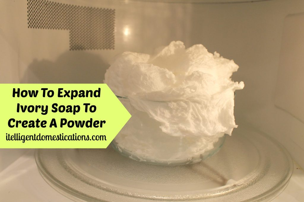 2.Homemade Laundry Detergent. Expanding the Ivory Soap in the Microwave. Takes up to 3 minutes.intelligentdomestications.com
