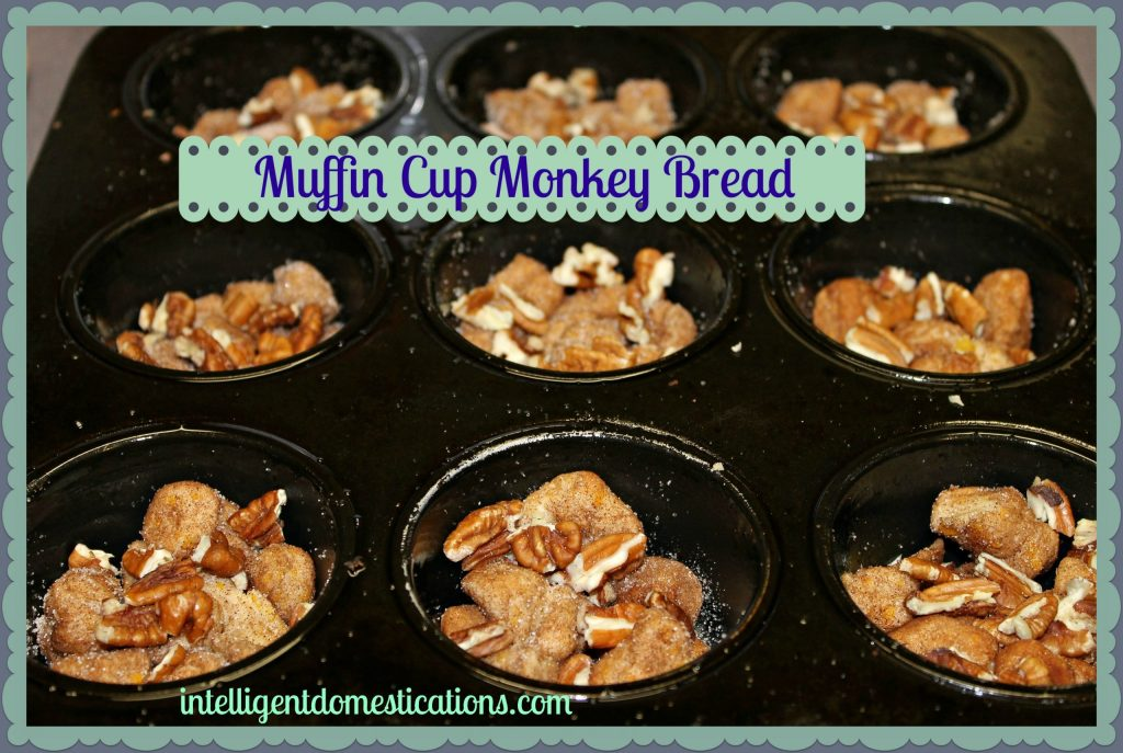 Muffin Cup Monkey Bread.Spray the pan. Place the cut up, cinnamon-sugar dusted biscuits and pecans into the cups.intelligentdomestications.com