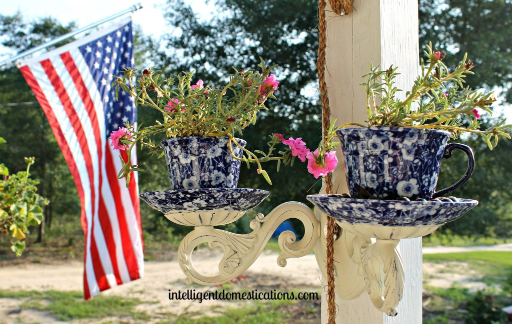 Tea Cup Outdoor Planter Sconce Repurpose.#PorchProject.intelligentdomestications.com