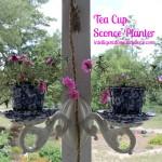 Tea Cup Sconce Planter. Repurposed sconce. #Repurpose #PorchProject.intelligentdomestications.com