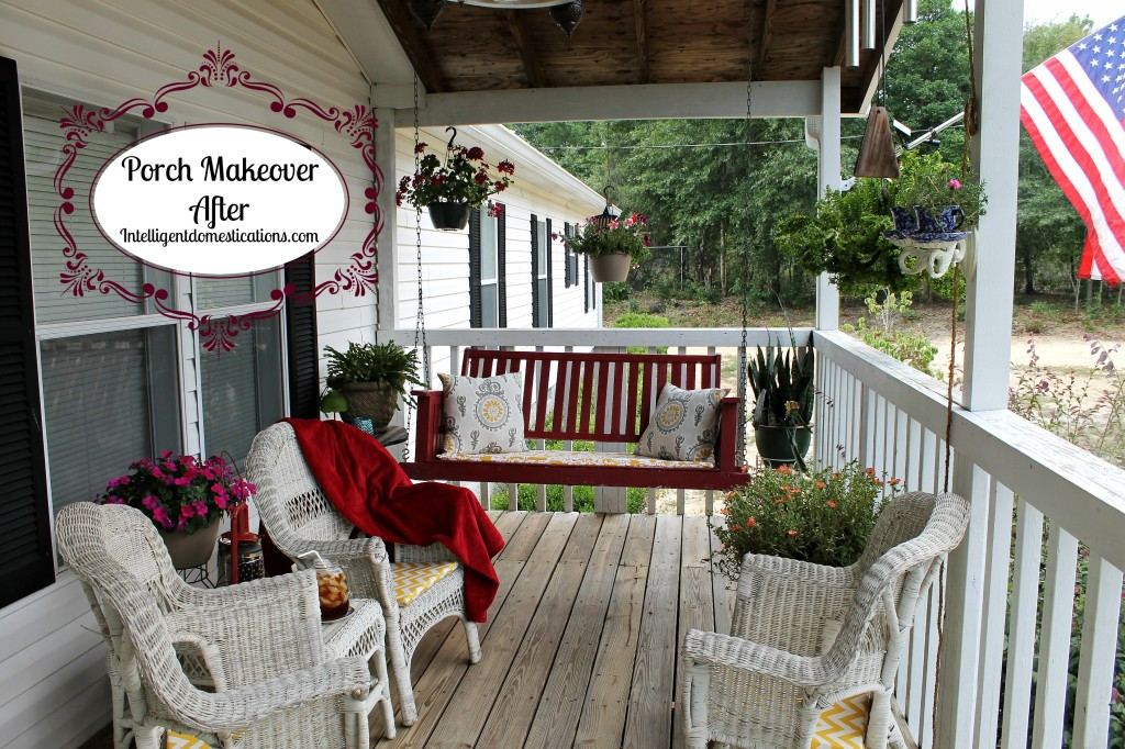 7.Porch Makeover Project. AFTER Picture.Summer of 2014.intelligentdomestications.com