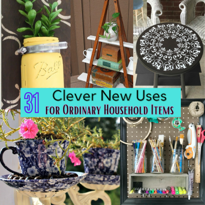 a collage of home decor upcyle and repurpose project including flower pots, tables and a framed pegboard