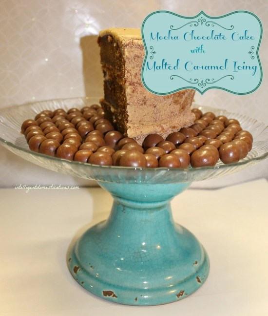 Last pieces of Mocha Chocolate Cake with Malted Caramel Icing Surrounded by Malted Milk Balls. Mocha Chocolate Cake recipe