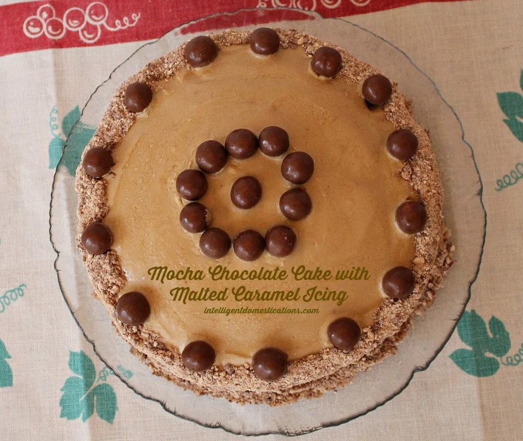Top view of Mocha Chocolate Cake with Malted Caramel Icing by intelligentdomestications.com