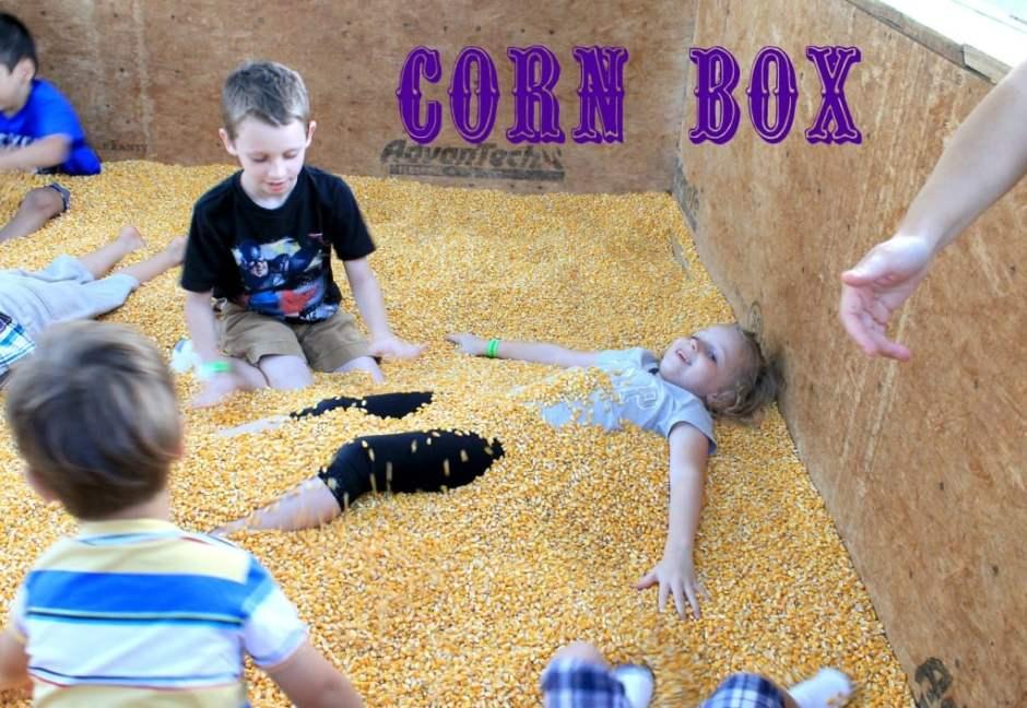 Kids playing in a  Corn Box