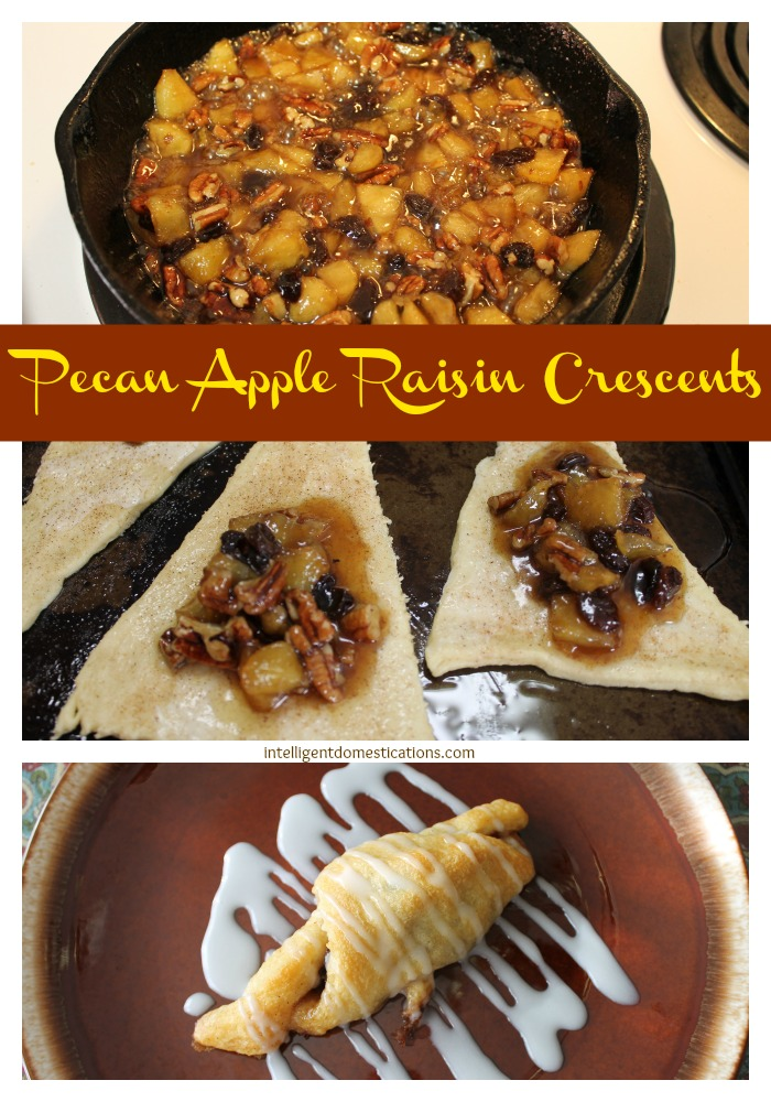 Pecan Apple Raisin Crescents. Easy step by step recipe at www.intelligentdomestications.com