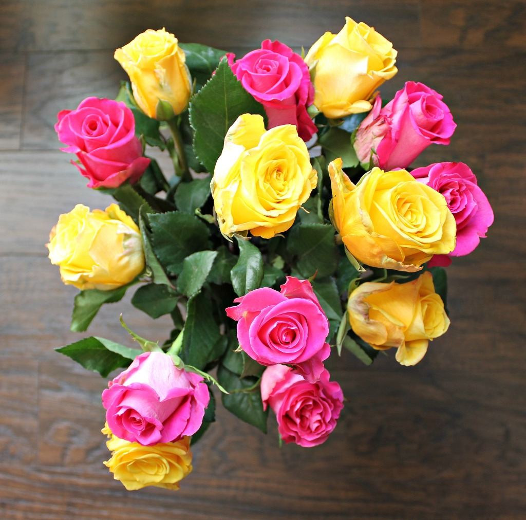 Yellow and Pink Roses in the Vase