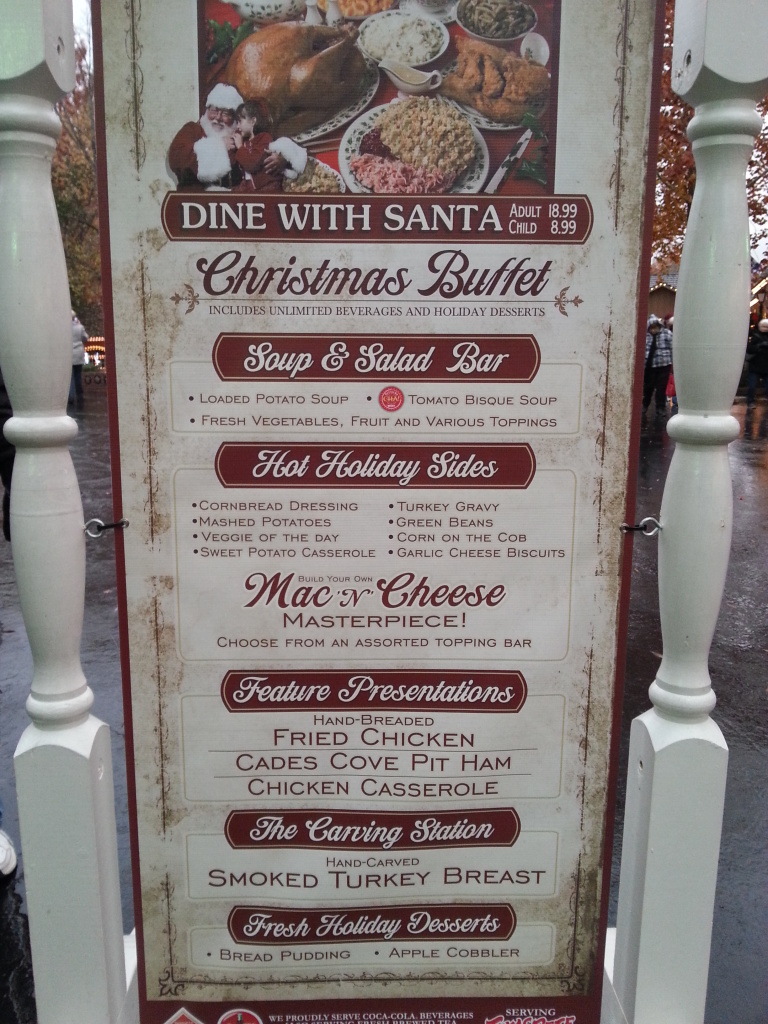 Dollywood dinner menu