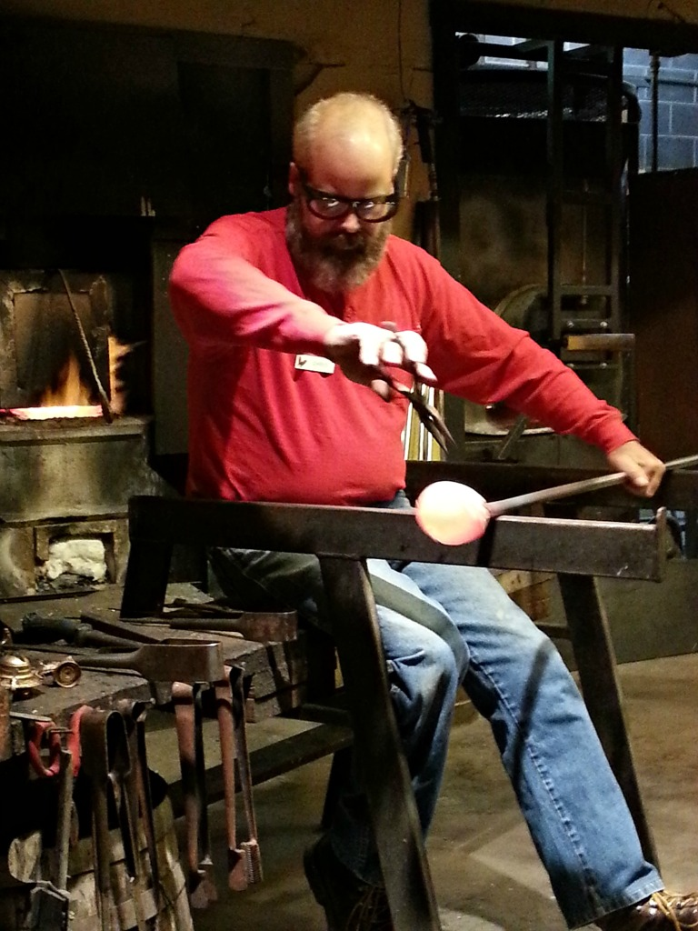 Glass blower at Dollywood