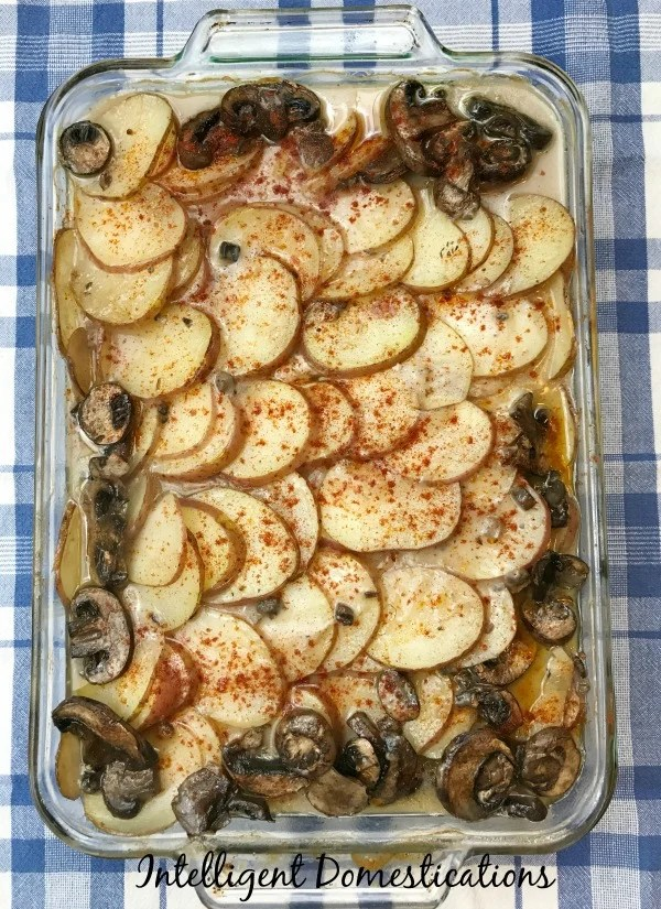 Pork Chop Casserole easy recipe for a different weeknight meal idea. Use fresh potatoes with the skins on for more fiber. Mushrooms optional. Ready in about an hour. A hearty stick-to-the-ribs meal. #casserole #weeknightmeal