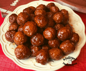 BBQ Meatballs piled up on a serving dish