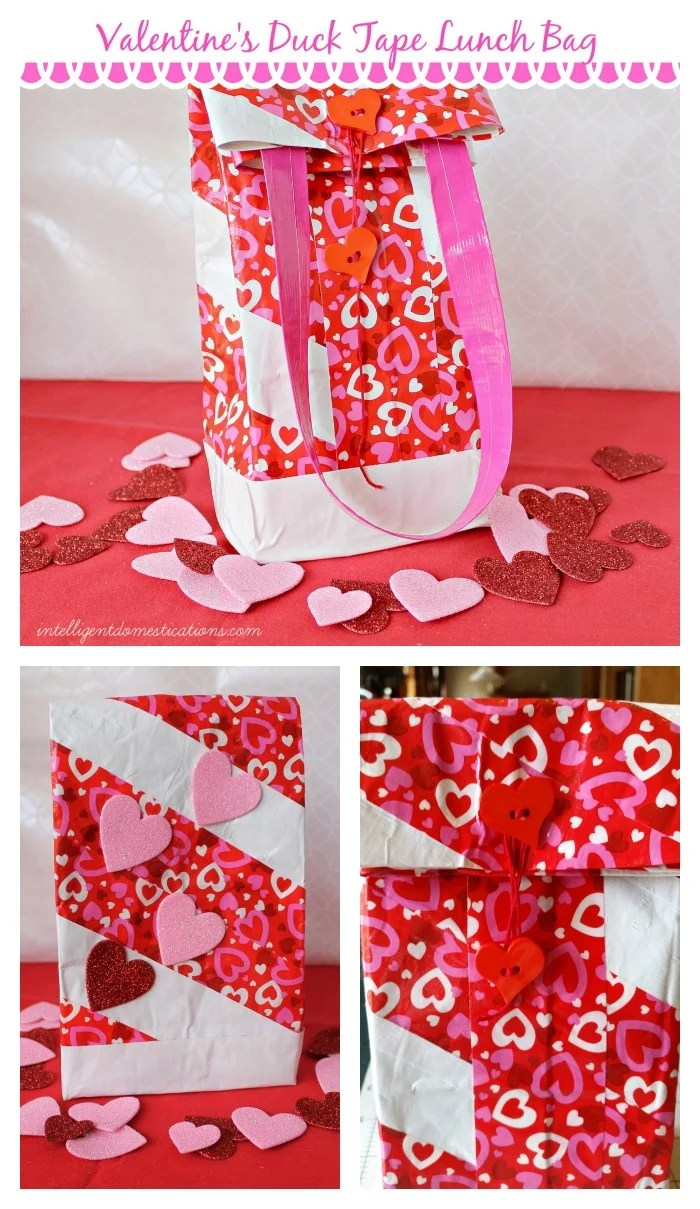 Valentines Duck Tape Lunch Bag. Find step by step directions at www.intelligentdomestications.com