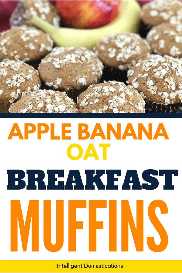 These homemade from scratch muffins are a good source of fiber for breakfast. No mixer required because they are so easy to mix by hand. This recipe uses fresh ripe bananas and one naturally sweet apple and Only 1/2 cup of sugar. They store well and make a good start to your day with a fiber filled breakfast. #applemuffins #easy #muffins #applerecipe