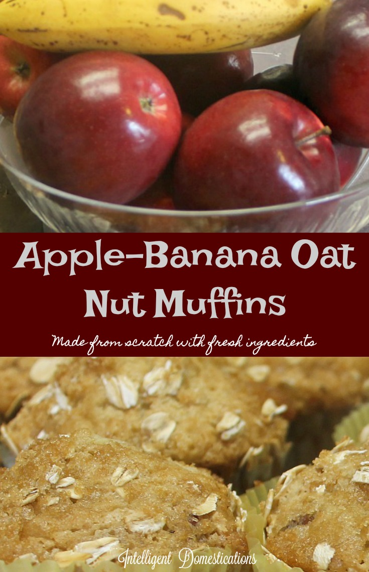 Apple Banana Oat Nut Muffin recipe. Made from scratch with fresh ingredients. Apple muffins. Apple Banana muffins. Made from scratch fruit muffins