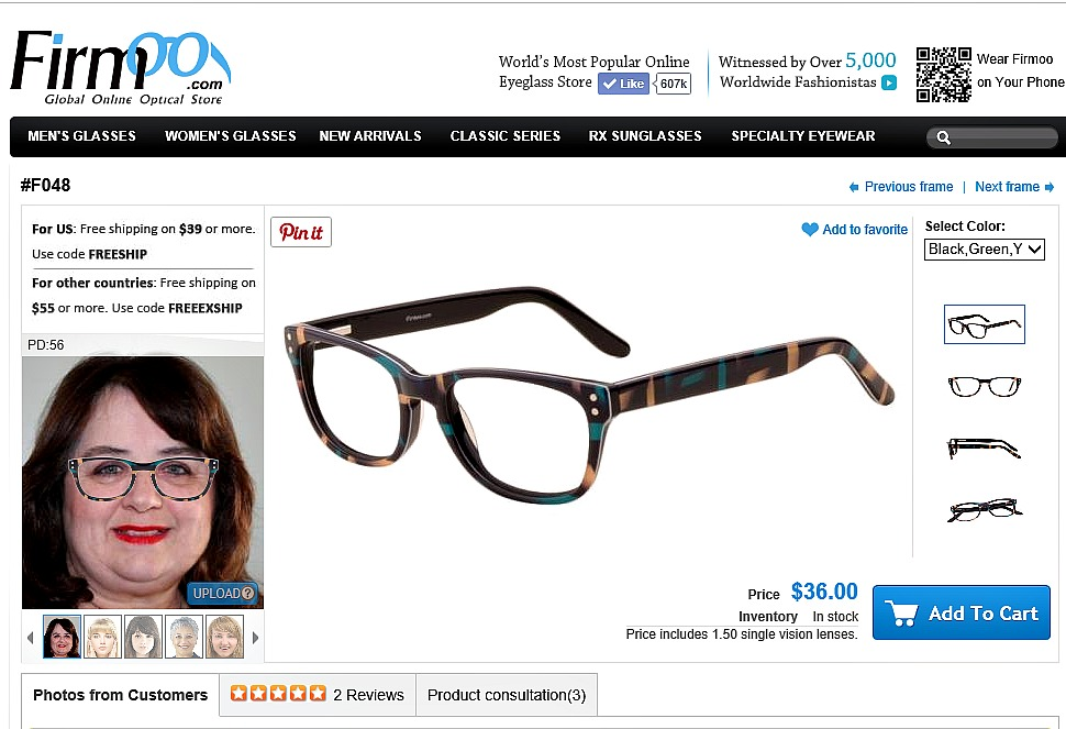 89f5889fb92 You will be able to upload a photo so that you can  try on  the glasses.  The above photo is a screenshot of my try on page. What do you think