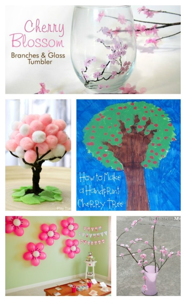 5 pictures of crafts made with a cherry theme. Cherry blossoms painted on a glass. Cotton balls crafted into a Cherry Blossom tree