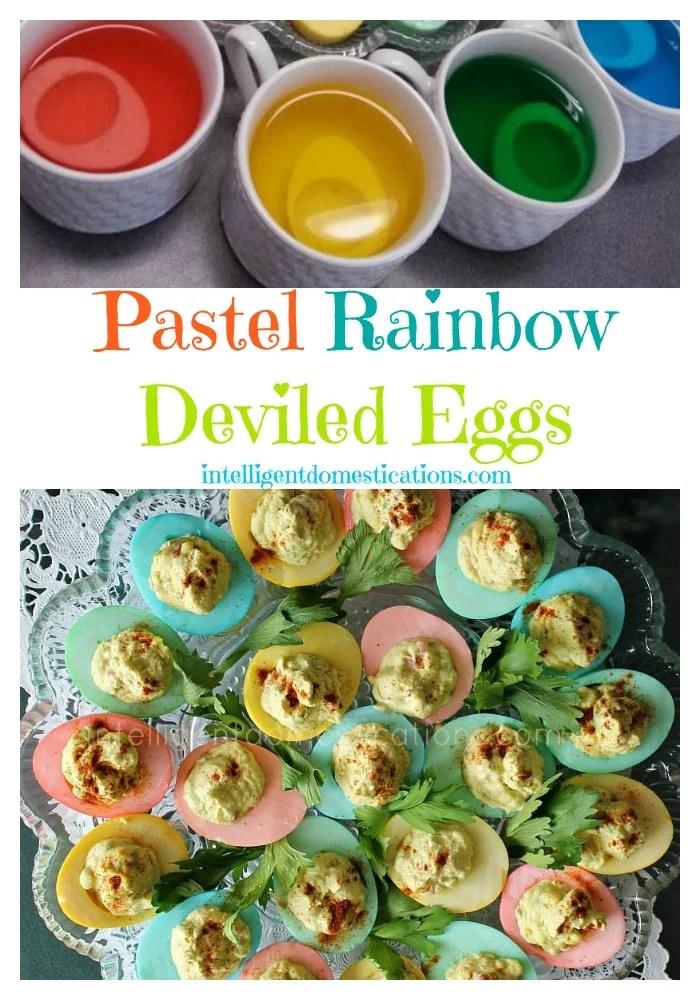 Pastel Rainbow Deviled Eggs at www.intelligentdomestications.com