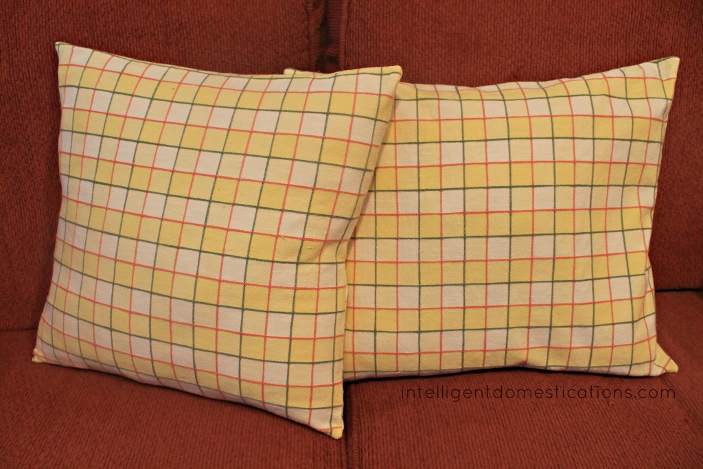 Pillows after adding new DIY envelope slipscovers.intelligentdomestications.com