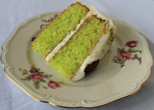 Enjoy a big slice of Stacy's Key Lime Cake with Cream Cheese frosting. Recipe at www.intelligentdomestications.com