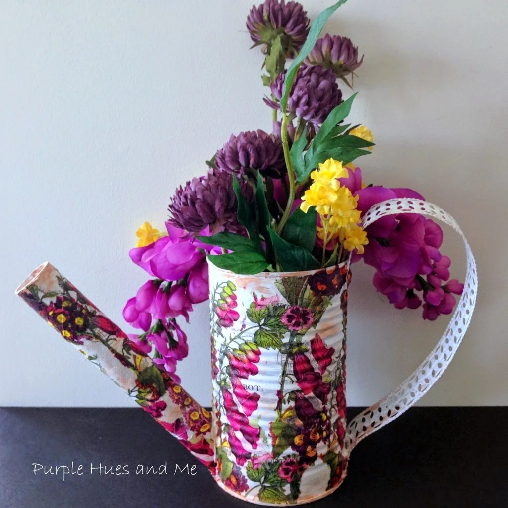 Recycle Veggie Can into A Watering Can Flower Pot by Plum Perfect and Me
