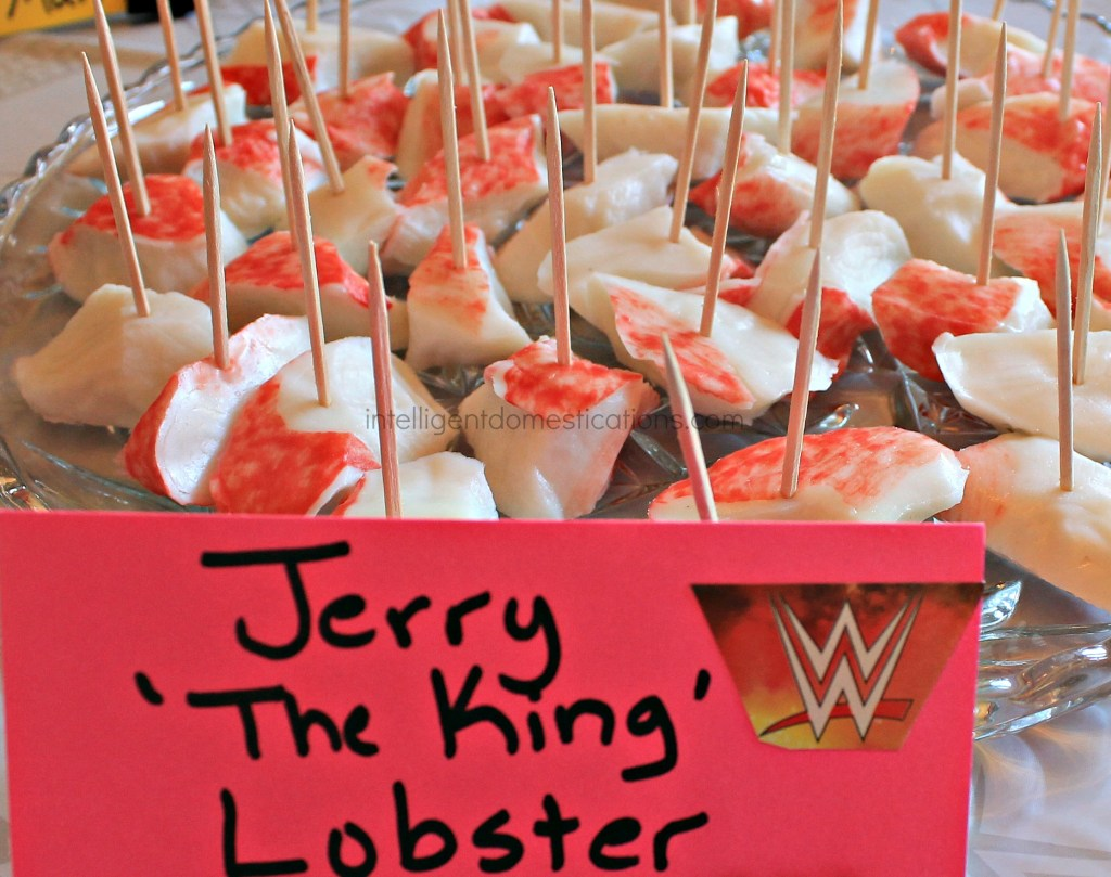 Serve your guest some Jerry the King Lobster at your WWE Theme party.Ideas at intelligentdomestications.com