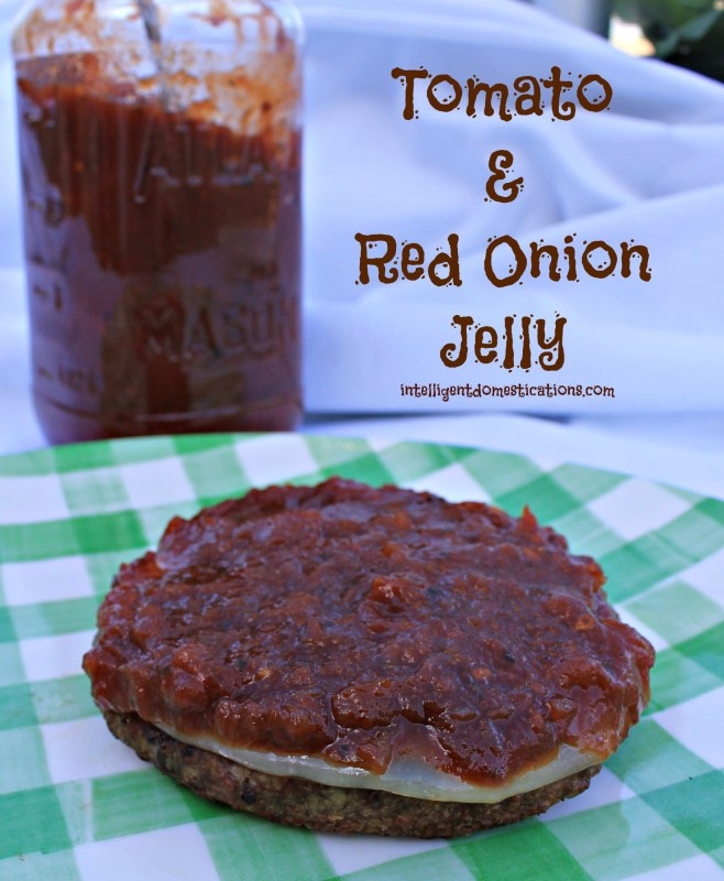 Tomato & Red Onion Jelly slathered atop of burger and provolone cheese.intelligentdomestications.com