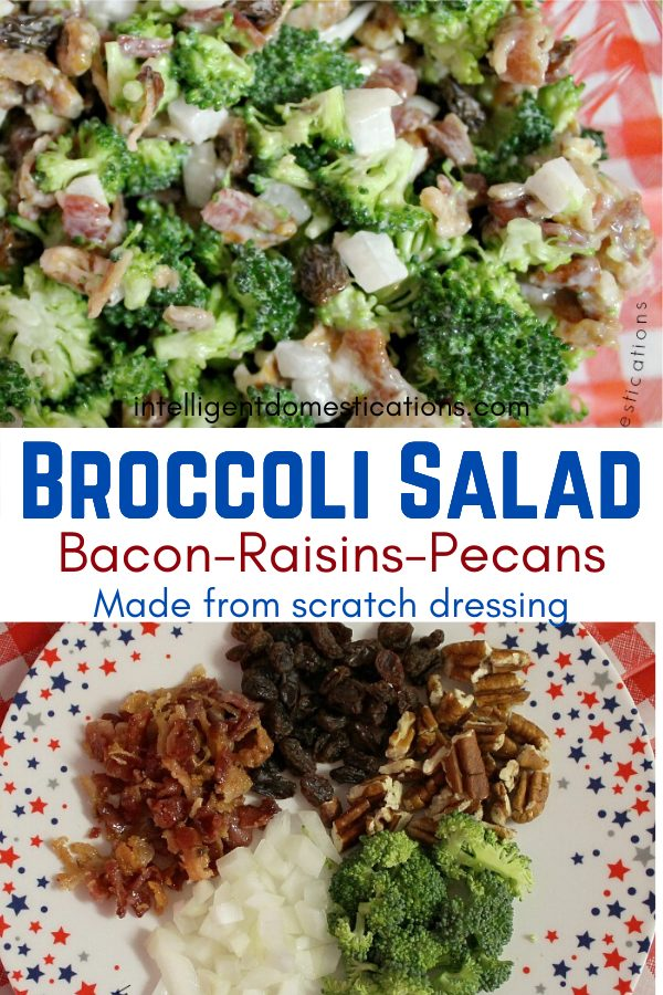 Broccoli salad pictured on a red and white plaid tablecloth