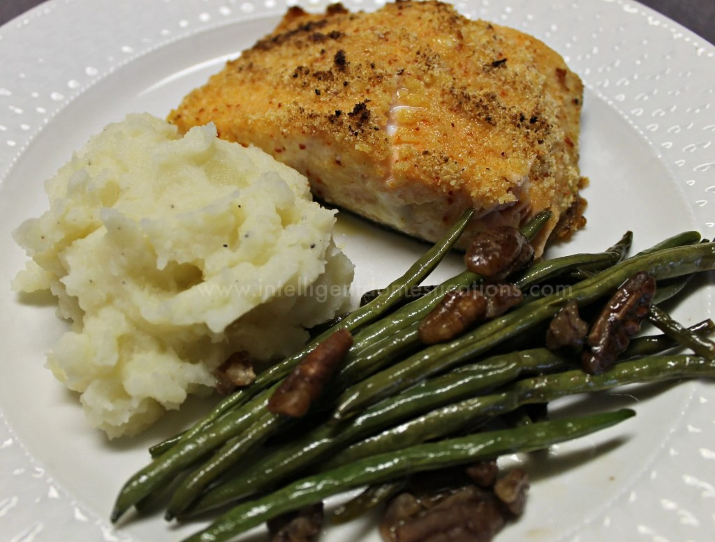 Iron Skillet Salmon served with Pecan Green beans and homemade mashed potatoes.