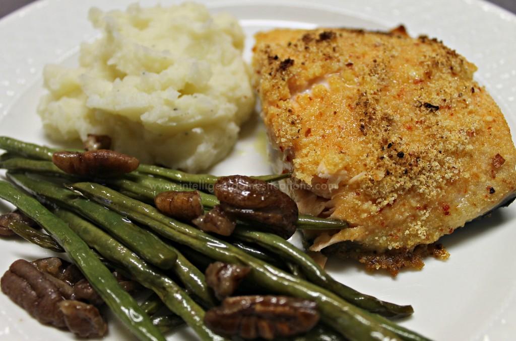 Parmesean Italian Crusted Iron Skillet Salmon dinner.www.intelligentdomestications.com