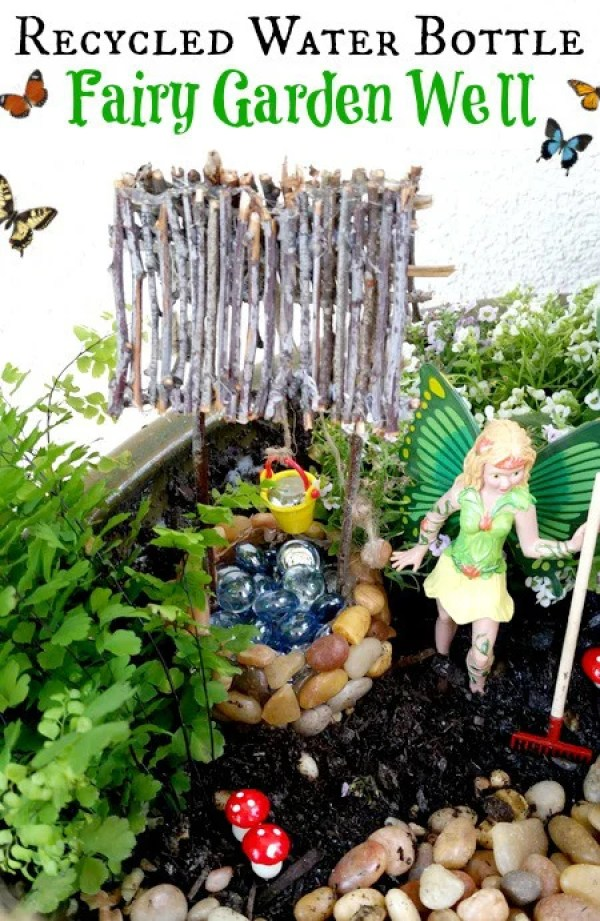 Recycled-Water-Bottle-Fairy-Garden-Well-. DIY Fairy Garden Ideas