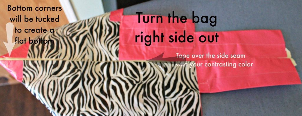 Turn the bag right side out and then Tape over the outside seam with contrasting color.