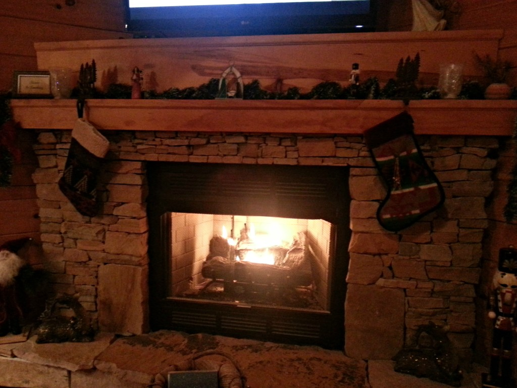 Dakota Lodge Fireplace decked out for Christmas