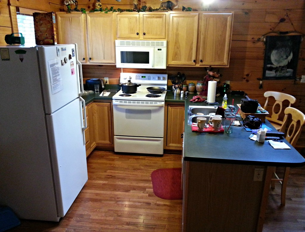 Dakota Lodge kitchen. pardon our mess, we made ourselves at home and prepared a meal with ample supplies and space