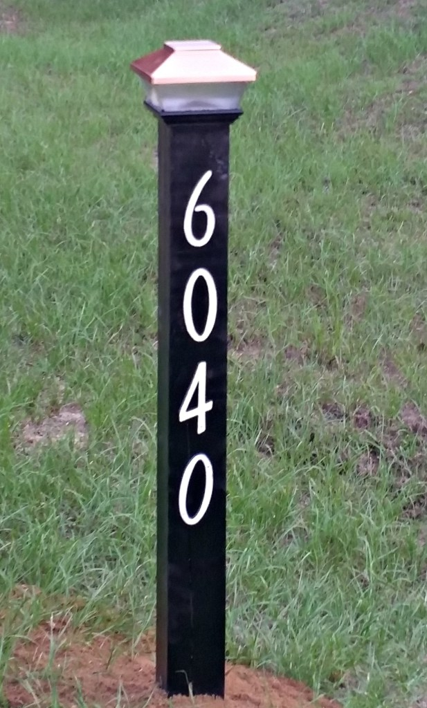 Solar lighted address post. Paint it, attach numbers and glue light to the top.wwwintelligentdomestications.com