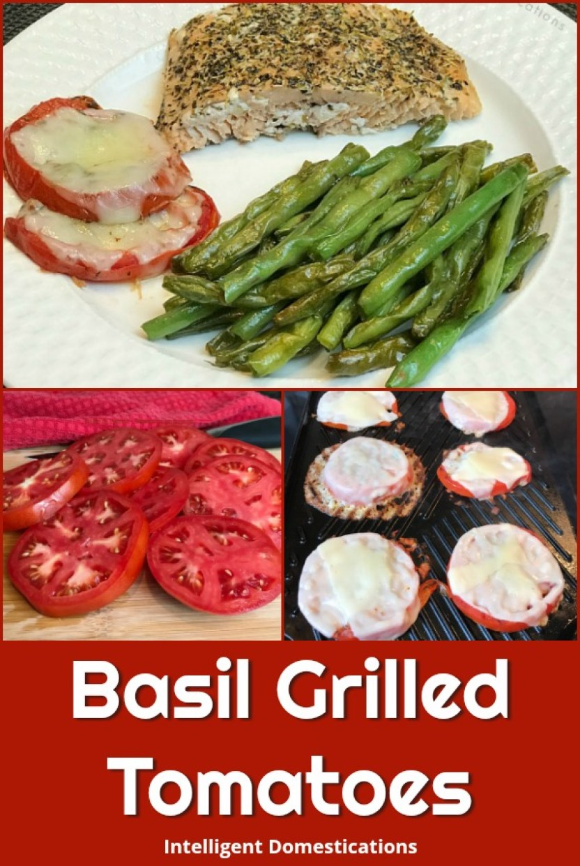 Basil Grilled Tomatoes with melted provolone