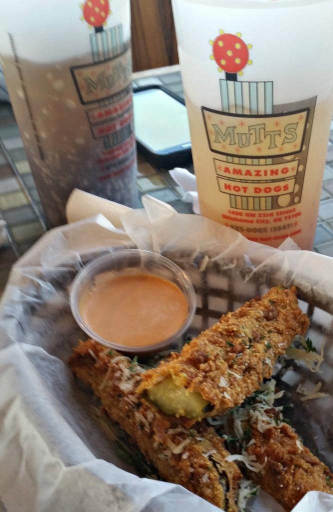 Fried Pickle Spears at Mutts Amazing HotDogs  in OKC on the #hotdogtour.www.intelligentdomestications.com