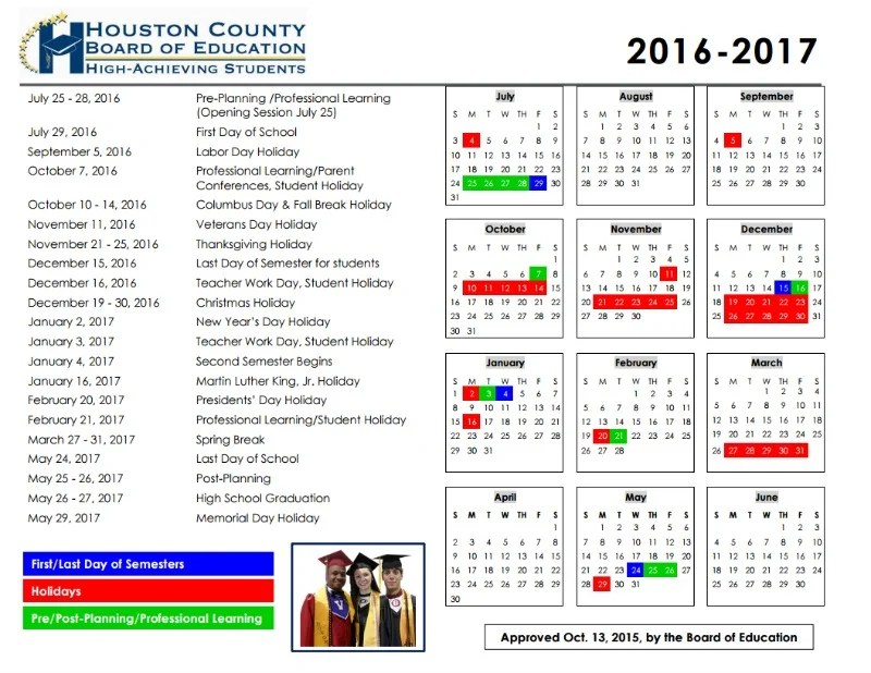Houston County School Calendar 2016-2017