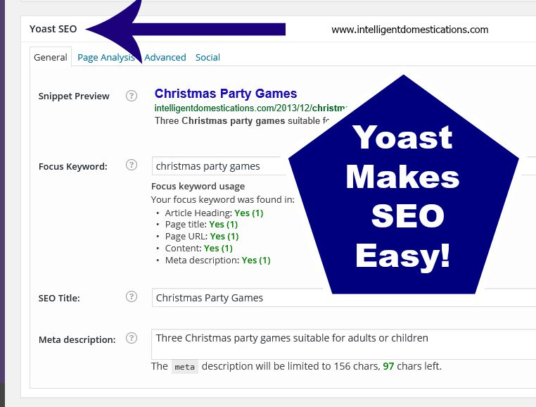 Yoast makes SEO easy! www.intelligentdomestications.com
