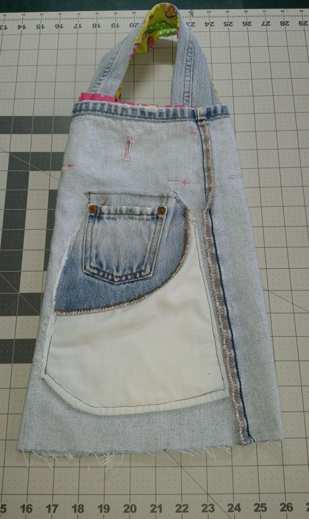 Repurposed denim jeans into a Barbie bag.www.intelligentdomestications.com