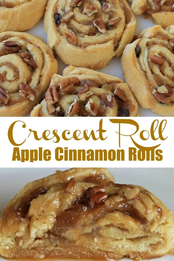 Delicious Ooey Gooey Apple Cinnamon Rolls made with Crescent Rolls. The Crescent Rolls Apple Cinnamon Rolls are easy to make and perfect for a weeknight dessert or Brunch treat. #crescentrolls #cinnamonrolls #applerecipe