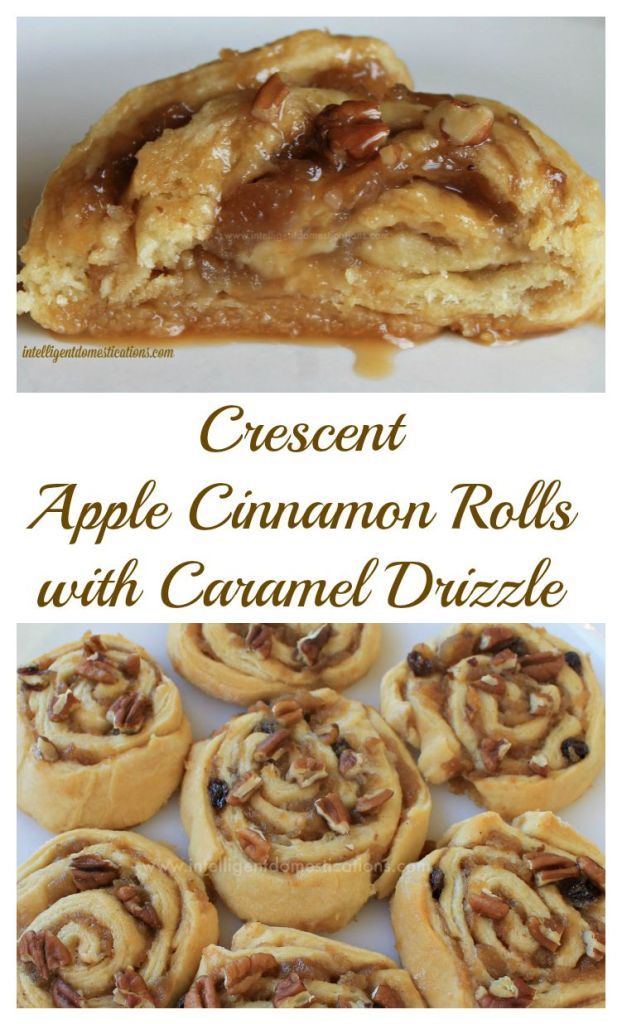 Crescent Apple Cinnamon Rolls with Caramel Drizzle.collage.www.intelligentdomestications.com