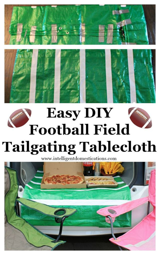 Easy DIY Football Field Tailgating Tablecloth.www.intelligentdomestications.com
